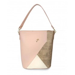 Pink handbag veta with gold and beige detail (713-35)
