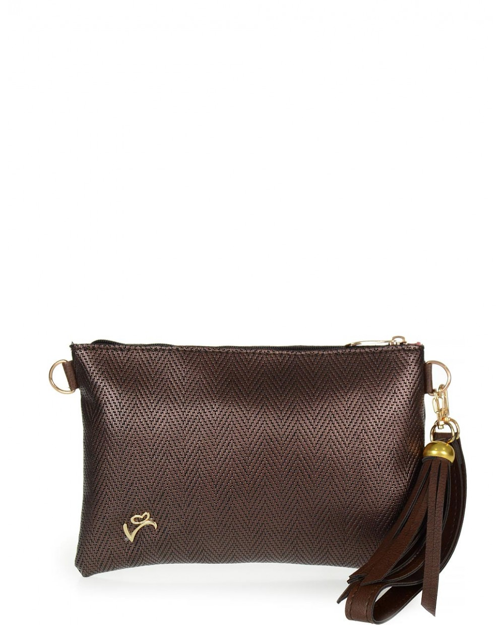 Brown metallic envelope bag veta (999-10)