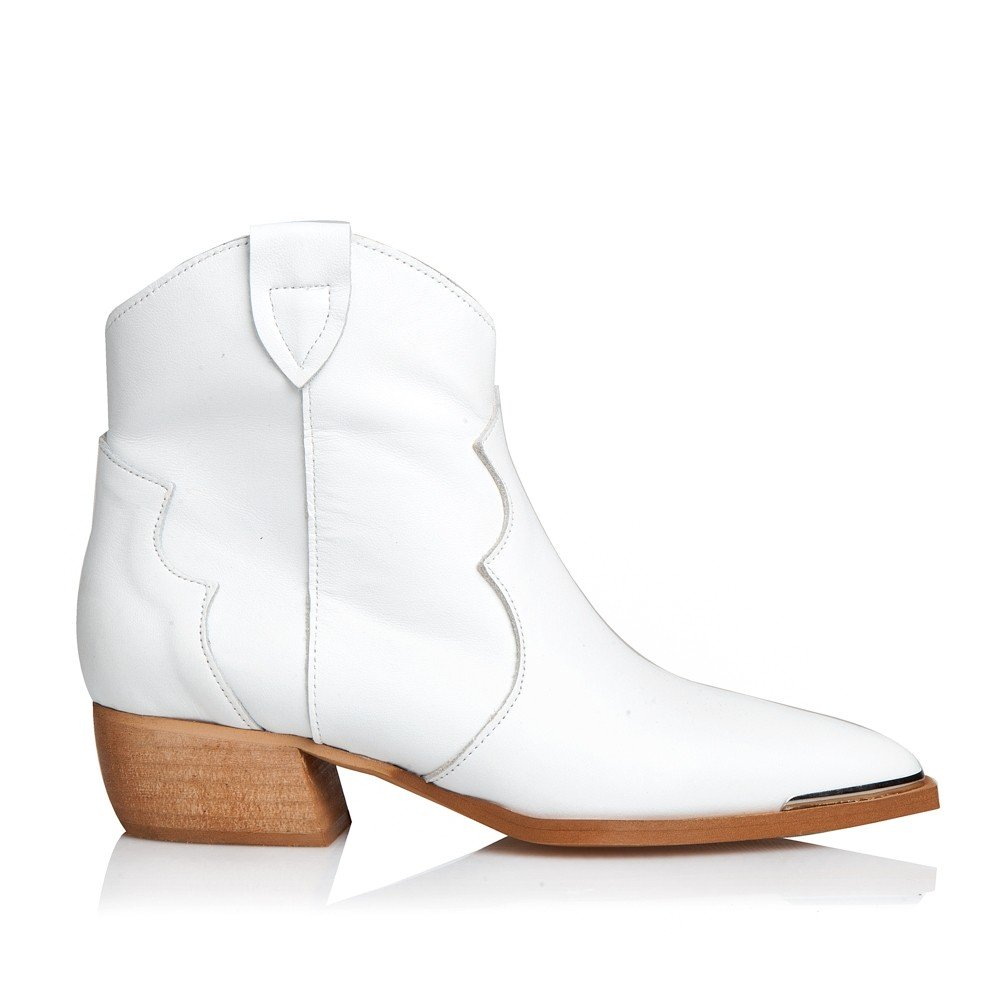 SANTE LEATHER BOOTIES WHITE (GRUMMAN-20-101-09)