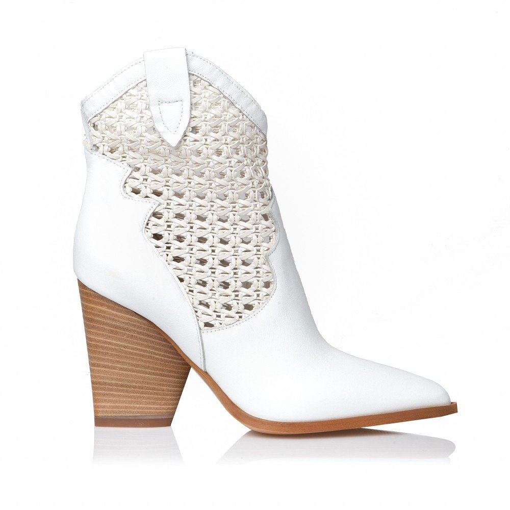 SANTE LEATHER BOOTIES WHITE (GRUMMAN-20-105-09)