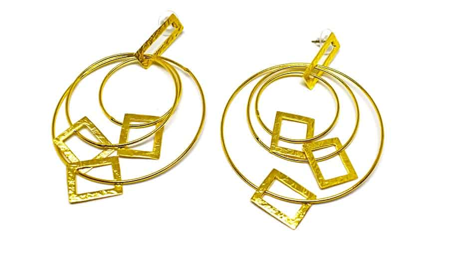 Gold plated brass handmade earings diotima (E625-2)