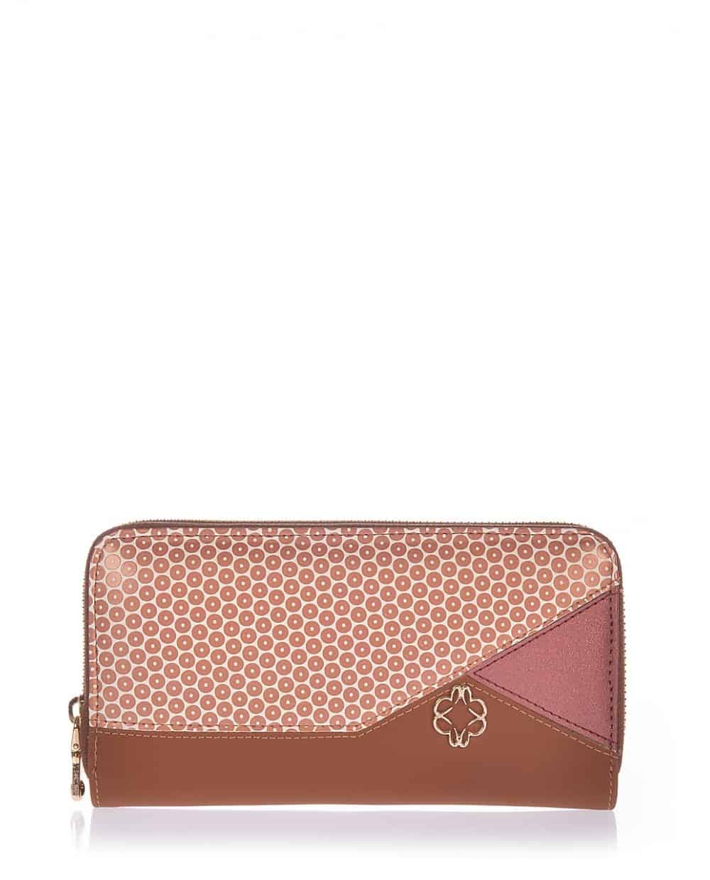 Tabba wallet veta with coral  and rose gold  detail (1027-10)